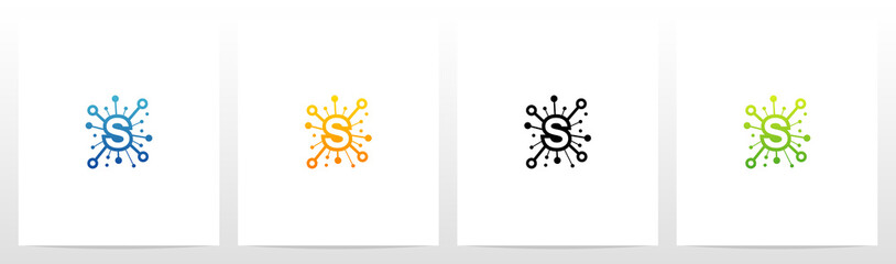 Network Symbol On Letter Logo Design S