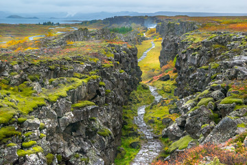 The Eurasian and North American tectonic plates -                Thingvellir National Park - Iceland
