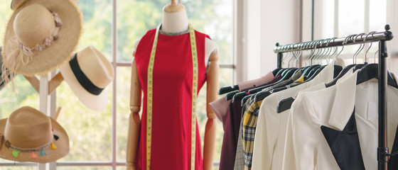 woman cloth hanging on rack to show at fashion retail store