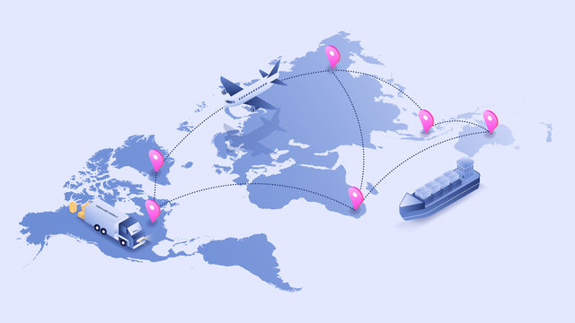 World map logistic tracking process via plane, truck, and shipping. 3D isometric illustration vector image