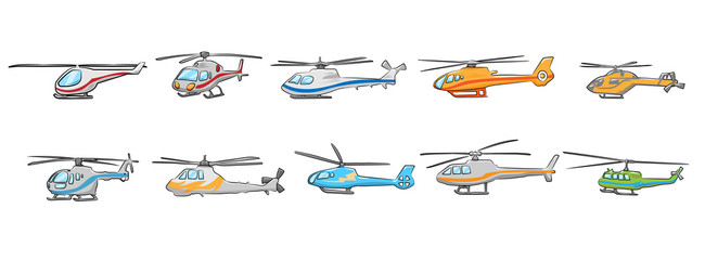 helicopter vector set collection graphic clipart design