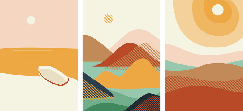 Vector. Set of costructivism abstract posters landscapes. Geometric shapes, template design, modern minimal wall art, terracotta color elements. For flyer, poster, magazine or brochure. Avant garde.