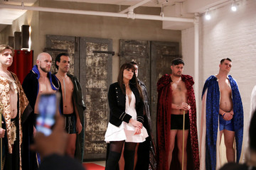 Models listen to each other about why the show is important after presenting creations from the first Ryan's Secret men's underwear collection during New York Fashion Week