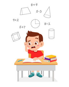 happy cute little kid boy study math