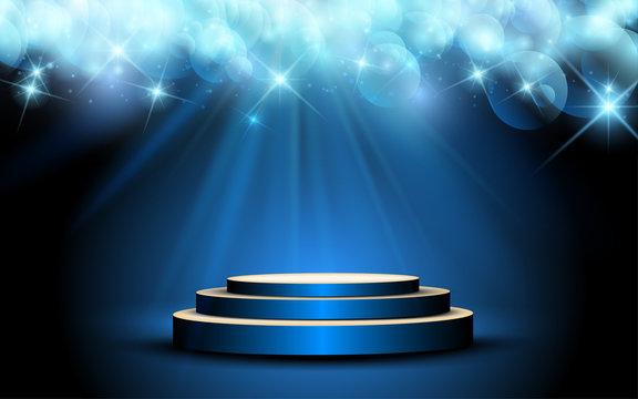 blue podium with blue light background