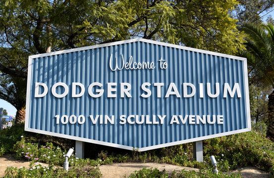 LOS ANGELES, CALIFORNIA - 12 FEB 2020: Welcome to Dodger Stadium sign at Vin Scully Avenue.