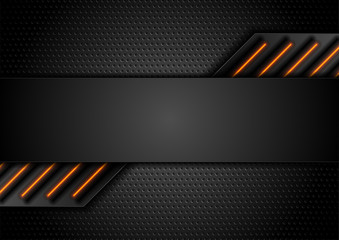 Fotobehang - Futuristic perforated technology abstract background with orange neon glowing lines. Vector concept design
