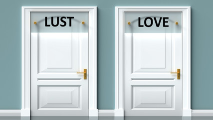 Lust and love as a choice - pictured as words Lust, love on doors to show that Lust and love are opposite options while making decision, 3d illustration