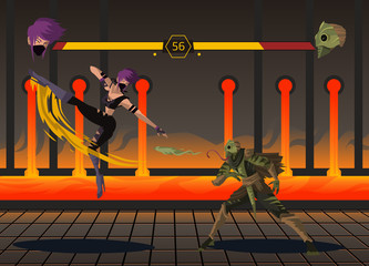 warriors ninja and lizard man from fighting videogame