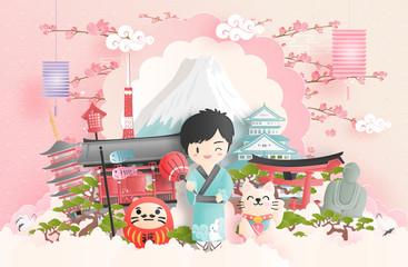 Wall Mural - Travel concept with a boy travel to Japan with Japanese landmark. Paper cut.