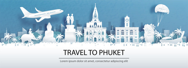 Fototapete - Travel advertising with travel to Phuket, Thailand concept with panorama view of city skyline and world famous landmarks in paper cut style vector illustration.