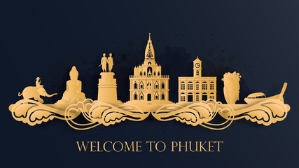 Wall Mural - Watercolor of Phuket, Thailand silhouette skyline and famous landmark. vector illustration.