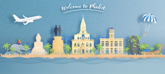 Fototapete - Welcome to Phuket, Thailand travel concept with world famous landmarks of Thailand in paper cut style vector illustration.