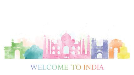 Fototapete - Agra, India landmark in water color. Vector illustration