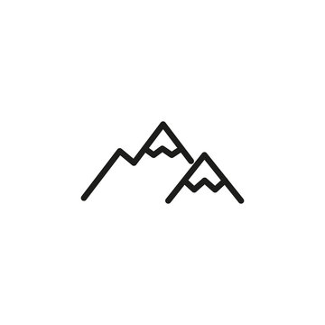 Simple mountain line icon.