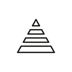 Simple pyramid chart line icon.
