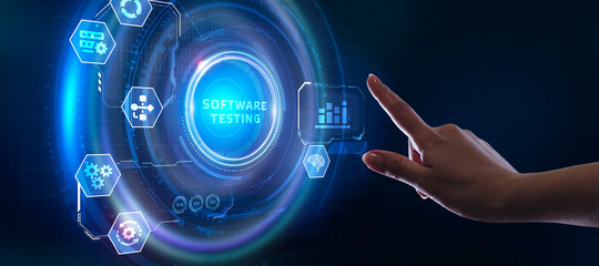 Inscription SOFTWARE TESTING on the virtual display. Business, modern technology, internet and networking concept.