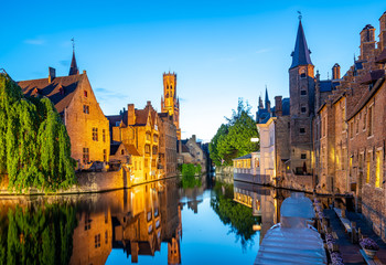 Foto op Canvas Brugge Bruges city skyline with canal at night in Belgium