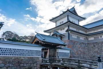Wall Mural - Kanazawa Castle with blue nice sky in Kanazawa city, Japan