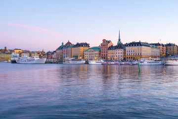 Stockholm city skyline with landmark buildings at twilight in Stockholm, Sweden