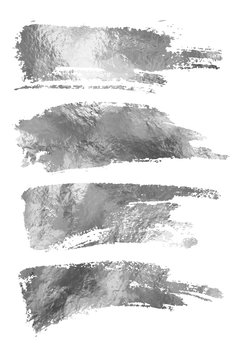 Vector silver paint smear stroke stain set.