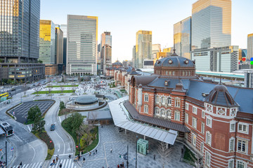 Sunset at Tokyo city with view of Tokyo train station in Japan