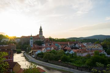 Cesky Krumlov skyline with sunset in Cesky Krumlov, Czech Republic