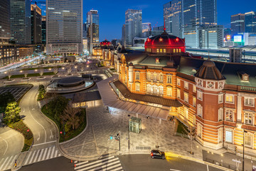 Night in Tokyo city with view of Tokyo train station in Japan