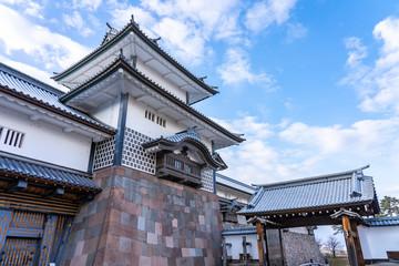 Kanazawa Castle with blue nice sky in Kanazawa city, Japan