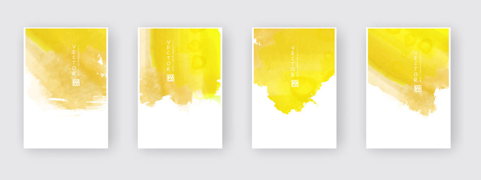 Poster template set. Hand drawn Watercolor stain background collection.