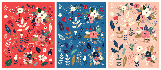 Fototapete - Beautiful collection of floral patterns. Holiday flower patterns for cards, invitations, wrapping paper, package