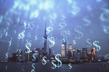 Aluminium Prints Shanghai Forex chart on cityscape with tall buildings background multi exposure. Financial research concept.