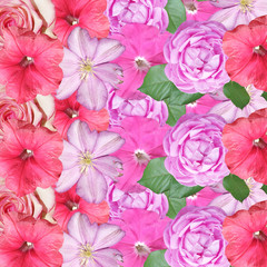 Fototapete - Beautiful floral background of roses, petunias and clematis. Isolated