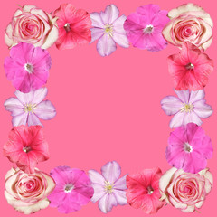 Fototapete - Beautiful floral pattern of clematis, roses and petunias. Isolated