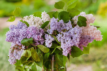Keuken foto achterwand Lilac lilac flowers in the vase