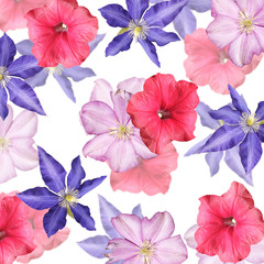 Wall Mural - Beautiful floral background of petunia and clematis. Isolated
