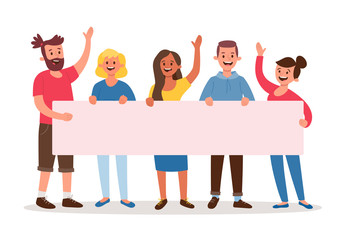 Team of five young people holding a blank banner for text. Announcement banner for advertising. Teamwork concept. Three women and two men. Flat cartoon vector illustration.