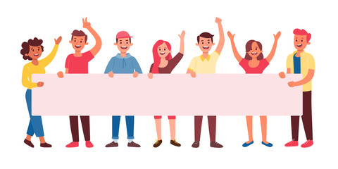 Group of seven young people holding a long blank billboard for text. Announcement and celebrate concept. Flat vector illustration.