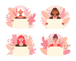 Collection of young women holding blank placards with cute floral background. Women's day concept. Set 1 of 2.