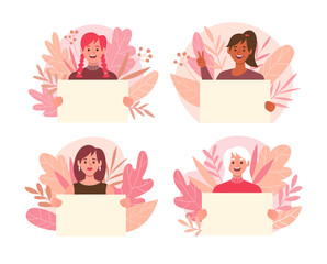 Collection of young women holding blank placards with cute floral background. Women's day concept. Set 2 of 2.