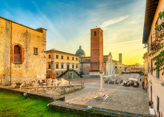 Pietrasanta old town view at sunset, Versilia Lucca Tuscany Italy Fototapete