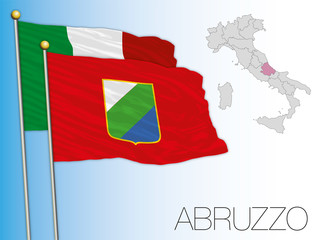 Abruzzo official regional flag and map, Italy, vector illustration