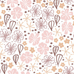 Fototapete - Seamless floral hand drawn background