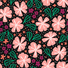 Fototapete - Abstract seamdoodleless pattern with flowers