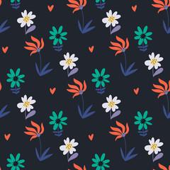 Fototapete - Seamless pattern with cartoon flowers