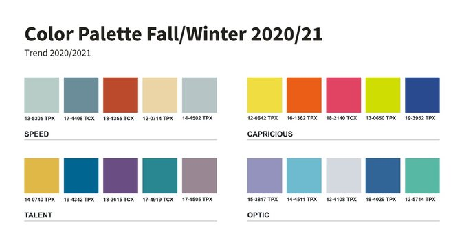 Color palette. Fashion fall winter 2020 2021. An example of a color palette. Forecast of the future color trend.