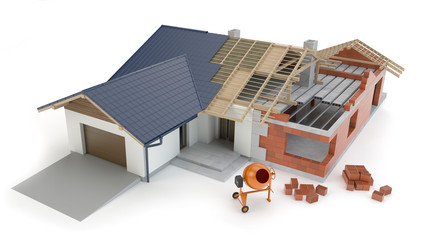House construction - white background, 3D illustration
