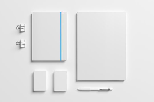Blank identity stationery set isolated on white. Mockup concept for graphic designers presentations and portfolios. 3d render.