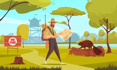 Forest Ranger Cartoon Illustration