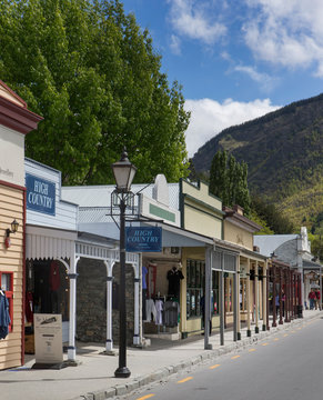 Historic city of Arrowtown. Western style. Goldmine city.  Queenstown New Zealand Mainstreet. Western town 19th century. South Island.